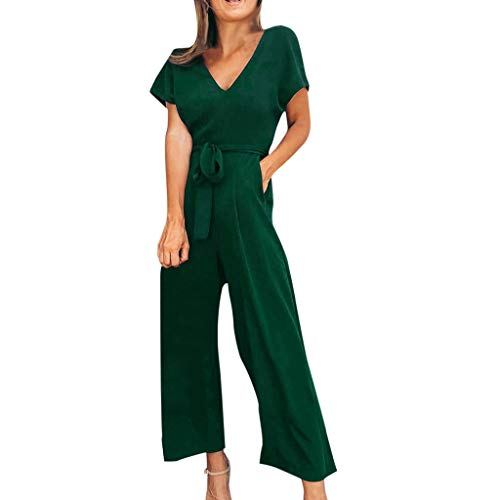 - TOTOD Rompers for Women, 2019 New Solid Short Sleeve V-Neck Zipper Long Jumpsuits Pants with Belt Green