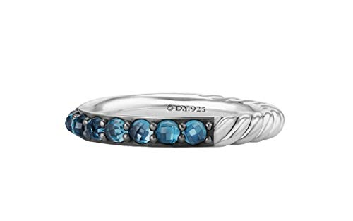David Yurman 3mm Cable Berries Blue Topaz & Sterling Silver Band Ring # 35R