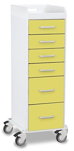 TrippNT 51091 Polyethylene Tall Locking Cart, 16'' Width x 47'' Height x 19'' Depth, 6 Drawers, Bright Idea by TrippNT