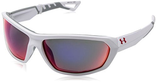 Under Armour Men's Rage Wrap Sunglasses, UA Rage Soft Touch White / Light Gray Frame / Gray / Infrared Multiflection Lens, 63 - Touch Sunglasses