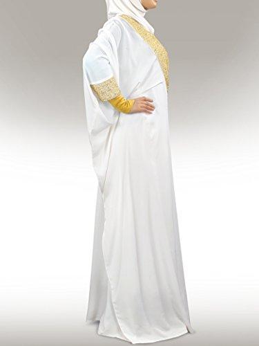 MyBatua Walidah brodé à la main blanche islamique Kaftan KF-006