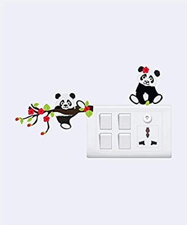 Sticker Yard Funny Panda Wall Decal Switchboard Sticker Color Multicolor Pvc Vinyl Matte Sheet Size 25cm X 25cm Set Of 4