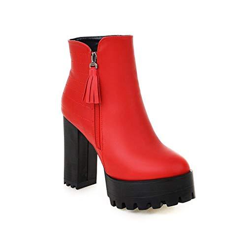 CXQ CXQ Red Red Red Tacco Basso Basso da Stivaletti Donna con e Tacco Stivali UZFUrO