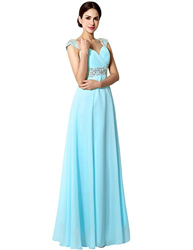 Sarahbridal Seniors Prom Dresses Long 2019 Bridesmaid Maxi Gowns with Beaded Sequin Sky Blue US8