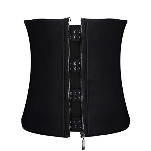 SUMEIYAN Womens Steel Boned Waist Trainer Belt with Zipper and Hooks for Weight Loss XS - 6XL (Black, S)