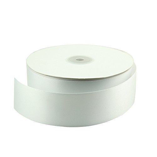 VATIN 1 1/2 inch Wide Double Face Polyester Satin Ribbon Perfect for Wedding, Gift Wrapping- 50 Yard (White) ()