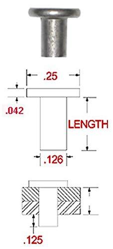 X 1 Length Aluminum Flat Head Solid Rivet Pack of 1lb - Approximately 150 Pieces Plain Finish 1//4 Dia