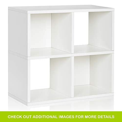 Way Basics Eco 4 Cubby Bookcase, Stackable Organizer and Storage Shelf, White (Tool-Free Assembly and Uniquely Crafted from Sustainable Non Toxic zBoard paperboard)