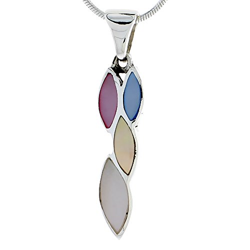 - Sterling Silver Marquise-shaped Pink, Blue, Light Yellow & White Mother of Pearl Inlay Pendant, 1 3/16 (30 mm) tall