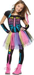 Black With Bows Footless Tights - Fun World Funky Punky Bones Costume, Medium 8 - 10, Multicolor