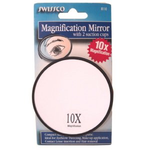 Small swissco mirror magnifying with suction cup 10x for Miroir grossissant ventouse