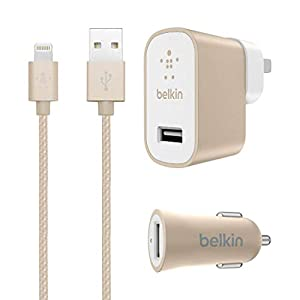 Belkin MIXIT iPhone iPad 12W Home Car Charger Kit 4' Cable Lightning Cable Bundle - Gold by Belkin Components