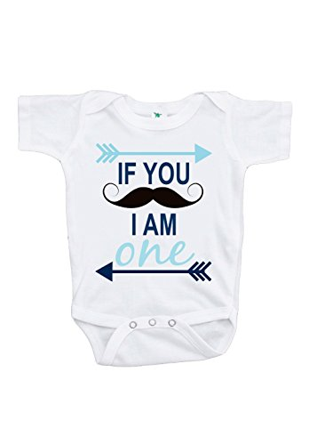Custom Party Shop Baby Boy's Mustache First Birthday Onepiece Outfit 12-18 Months (1st Birthday Outfit Boy)