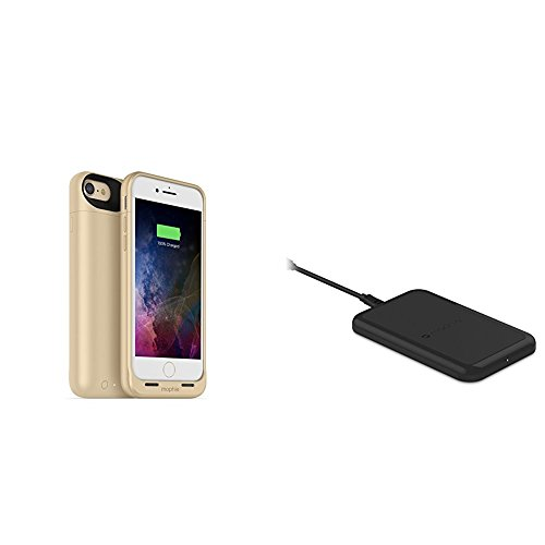 mophie juice pack wireless  - Charge Force Wireless Power - Wireless Charging Protective Battery Pack Case for iPhone 7 – Gold plus mophie Charge Force Wireless Charging Base bundle