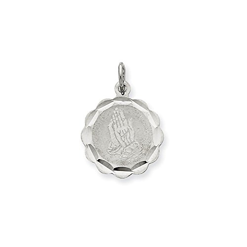 .925 Sterling Silver Praying Hands Disc Charm Pendant