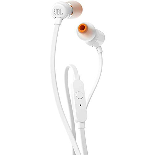 JBL JBLT110WHT T110 Wired Universal In-Ear Headphone with Remote Control and Microphone - White