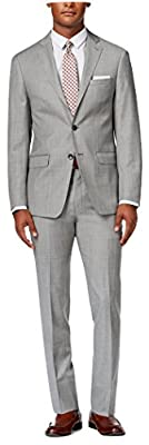 Calvin Klein Slim-Fit Light Grey Textured Wool 2 Button Flat Front New Men's Suit