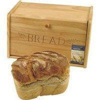 Traditional wooden bread bin 39cm(w) 21cm (H) 20cm(D) - Drop down front.
