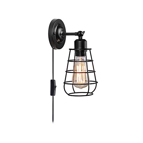 (Create for Life 1-Light Plug-in or Hard-Wire Industrial Cage Wall Sconce,Vintage Style Wall Light for Headboard Bedroom Nightstand Porch Bathroom Vanity(ON/Off Switch,6' Cord,Matte)