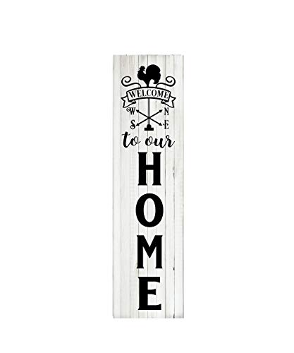 24 Inch Welcome to Our Home Weather Vane Vertical Wood Print ()