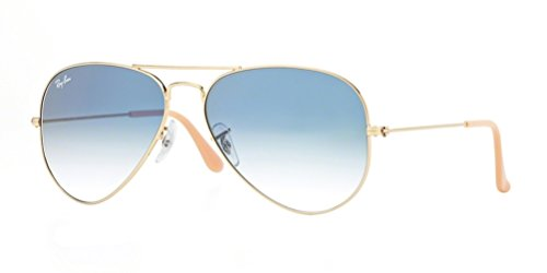 Ray-Ban RB3025 Aviator Large Metal Gradient Unisex Sunglasses (Gold Frame/Crystal Gradient Light Blue Lens 001/3F, - Aviators Ban Blue Frame Ray