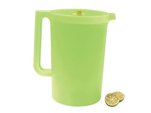(Tupperware 2 Quart Push Button Pitcher - Green with Lime/Aqua Blue Lid)