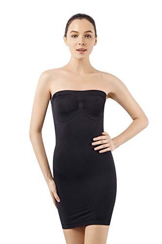MD Women's Strapless Full Body Slip Shaper Seamless Smoother Tube Slip Under Dresses,Black,Large