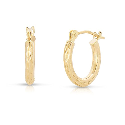 14k Yellow Gold Childrens Hoop (Tiny 14k Yellow Gold Diamond-cut Engraved Hoop Earrings for Baby and Girls)