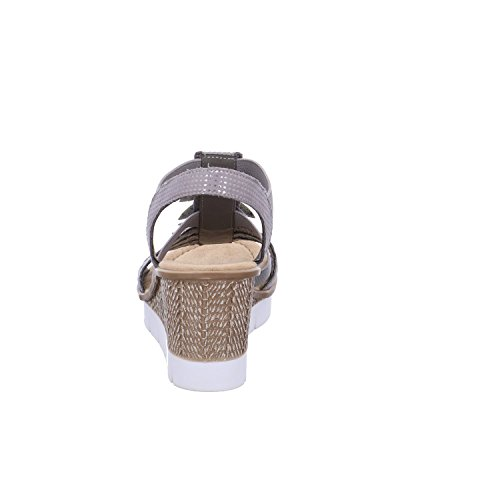 Rieker 65505, Sandalias con Plataforma Plana Para Mujer Gris (Grau-silber)