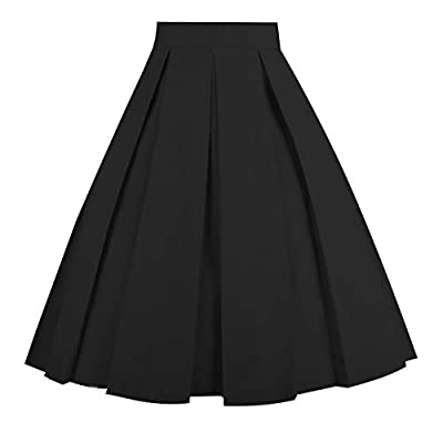 Dresstore Vintage Pleated Skirt Floral A-line Printed Midi Skirts with Pockets Solid-Black-S