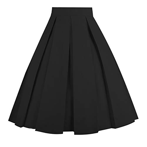 Dresstore Vintage Pleated Skirt Floral A-line Printed Midi Skirts with Pockets Solid-Black-XX-L