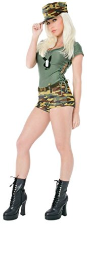 Playboy Womens Bootcamp Babe Jumpsuit Miltary Outfit Fancy Dress Sexy Costume, Medium (10-12)