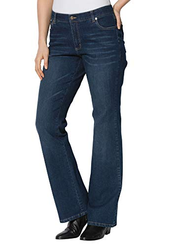 Woman Within Plus Size Bootcut Stretch Jean - Midnight Sanded, 18 W