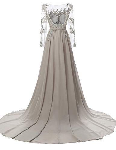 s Lace Women Dress White Beaded Bridal Long Sleeves Evening Bess Backless Sheer Prom Bq1pwOE