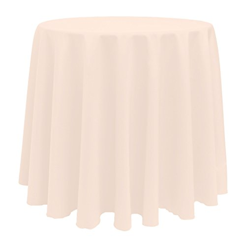 Ultimate Textile (10 Pack) 108-Inch Round Polyester Linen Tablecloth - for Wedding, Restaurant or Banquet use, Ice Peach by Ultimate Textile