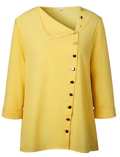 YFLTZ Yellow Femme Couleur Chemise Coton en Unie rnPY1qrw