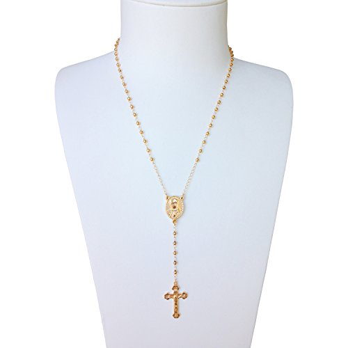 Vintage Rosary Bead (J.Shine Tiny Bead Gold Tone Stainless Steel Rosary Necklace for Women Vintage Chain 16