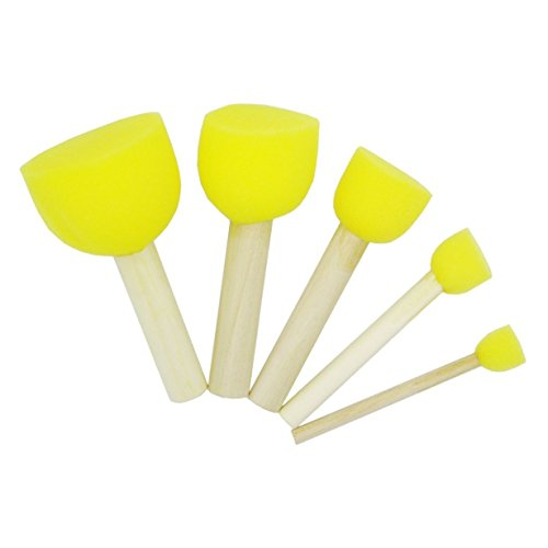 Koreyoshi 40 Pcs Round Stencil Sponge Wooden Handle Foam Brush Furniture Art Crafts Painting Tool Supplies Painting Stippler Set DIY Painting Tools in 5 Sizes for Kids (Style 2)