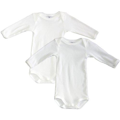 Petit Bateau Long Sleeve Bodysuit - Petit Bateau Unisex-Baby Newborn Long Sleeve 2 Pack Bodysuits, White, 3 Months