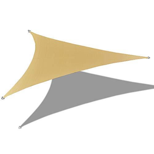 Alion Home 9' x 9' x 12.7' Right Triangle PU Waterproof Woven Sun Shade Sail (1, Sand) (Triangle Sail Shade Right)