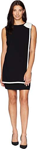 Tahari ASL Women's Bow Shoulder Crepe Sheath Dress Banded Overlay Black/Ivory 14