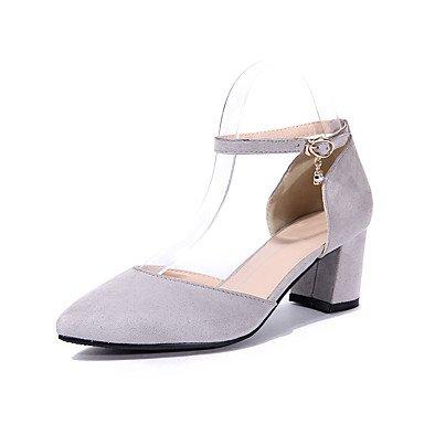 pwne Las mujeres talones del Club de verano zapatos casual vestido de cachemir Chunky talón Luz Rosa gris Negro negro US8 / UE39 / UK6 / CN39