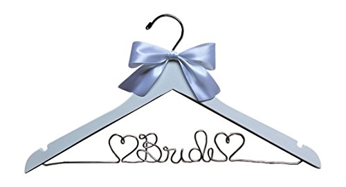 White Bride with Hearts Hanger for Wedding Dress White Wood Premium Hanger with Silver Wire