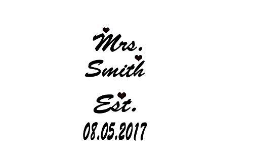 Kreative Decals Mrs. Name & Date- Wedding Day Shoe Decal Custom Black