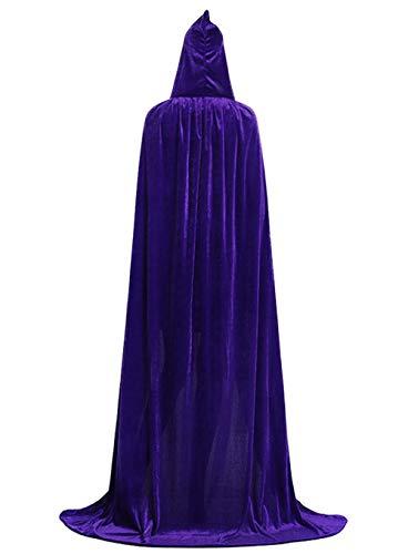 ALIZIWAY Hooded Cloak Full Long Velvet Cape for Halloween Cosplay Costume Cloak Purple 07PS