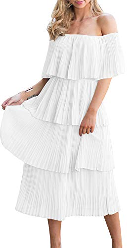 ETCYY Women's Off The Shoulder Maxi Dress Chiffon Ruffles Tiered Pleated Casual Midi Dress White ()