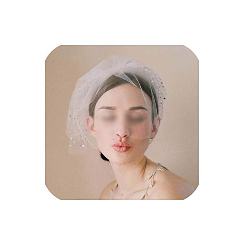 - Multi Layer Blusher Veils Vintage Sequined Charming Bridal Wedding Veil Headwear Accessories, White