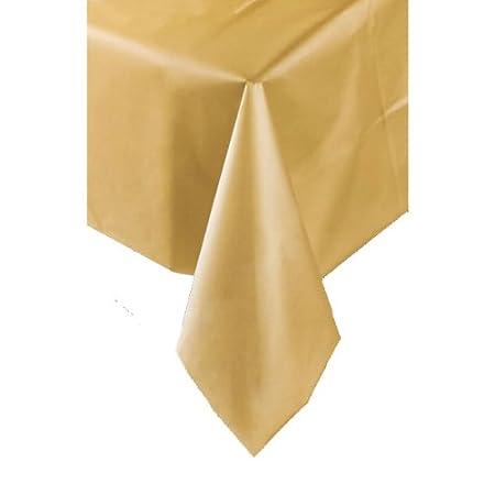 Gold Plastic Table Cover 137cm X 274cm Amazon Co Uk Kitchen Home
