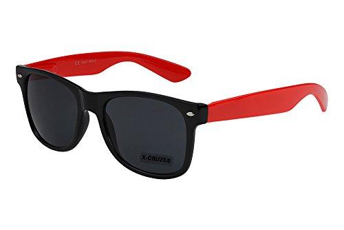 de X unisex negro gafas rojo 8 nerd hombre sol retro 083 CRUZE® Gafas nerd mujer vintage pSqIR