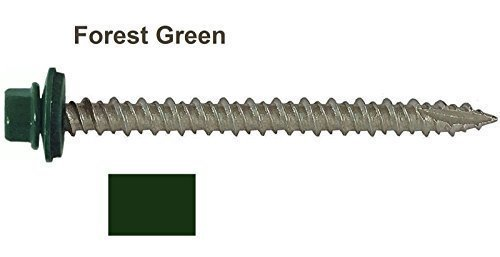 metal-roofing-screws-250-screws-x-2-1-2-ivy-green-forest-green-hex-washer-head-sheet-metal-roof-scre